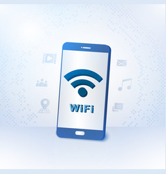 smartphone with wireless zone vector image vector image