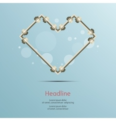 Steel pipe heart connect isolated background vector image
