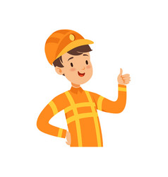 cute firefighter character boy in the costume of vector image