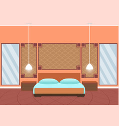 flat style hotel room interior with furniture and vector image vector image