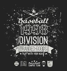 Retro emblem baseball division of college black vector image vector image