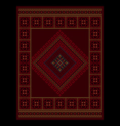 Vintage oriental carpet with ethnic ornament in ma vector