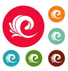 wave tsunami icons circle set vector image