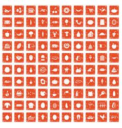 100 natural products icons set grunge orange vector image