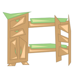 a wooden bunker bed with green bedspread and vector image