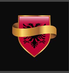 Albania flag golden badge design vector