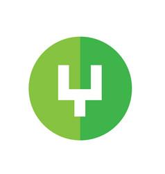 Alphabet y initial logo green circle icon design vector