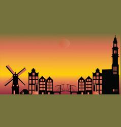 Amsterdam sunset city skyline vector