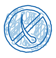 Anti hair mark doodle icon hand drawn vector