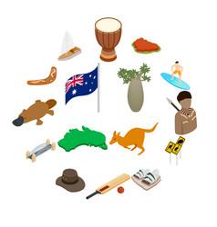 australia isometric 3d icons vector image