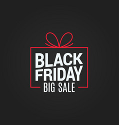 Black friday sale gift box on black background vector