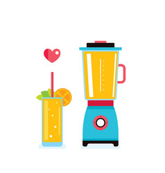 blender glass of fresh smoothie and orange vector image
