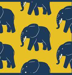 blue elephant seamless pattern yellow vector image