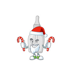 bottle with pipette humble santa having candies vector image