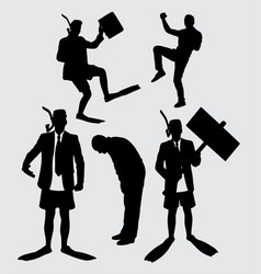 business and diving people action silhouette vector image