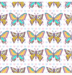 Butterflies pattern hand drawn seamless print can vector