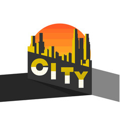city landscape on a modern city skyscrapers vector image