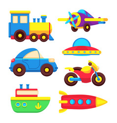 Colorful baby toy transport set vector