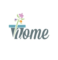 Conceptual text home with flowers vector