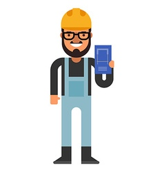 Construction engineer with a plan in hands Flat vector