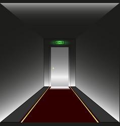 corridor door illuminated inscription exit vector image