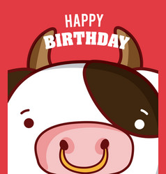 cow happy birthday card vector image