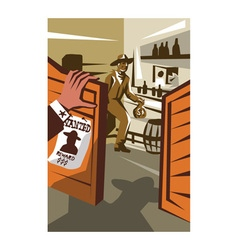 Cowboy Robber Stealing Saloon Poster vector image