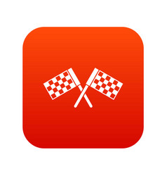 crossed chequered flags icon digital red vector image
