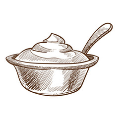 Dairy product sour cream in bowl with spoon vector