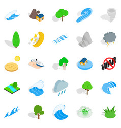 Disaster icons set isometric style vector