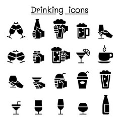 drinking glass in the hand icon set vector image