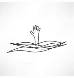 drowning and reaching out hand for help vector image