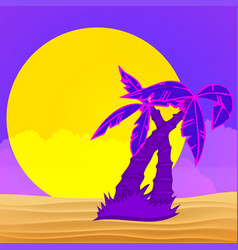 evening on beach with palm trees colorful vector image