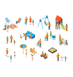 Families spending free time 3d icons set isometric vector
