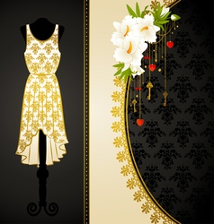 Fashionable dress with flowers vector image