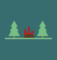 flat icon bonfire in forest vector image