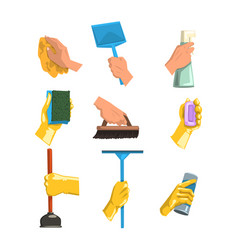 Flat set of cleaning supplies human hands vector
