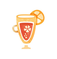 Fresh juice with slice orange on glass sweet and vector