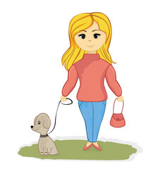 girl with the dog in the alley vector image
