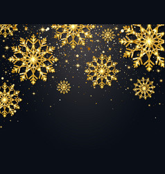 glitter snowflakes with falling particles on dark vector image