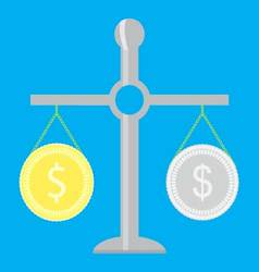 Gold and silver coin on scale vector image