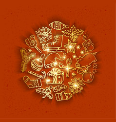 Golden christmas doodles vector