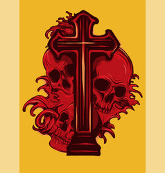 Gothic coat of arms with skull and rosary grunge vector