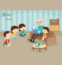 Grandparents with grandchildrens reading on sofa vector