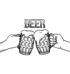 Graphic hands with mugs beer vector