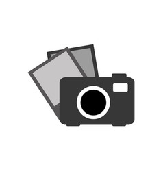 Grayscale camera with picture icon vector