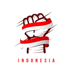 Hand and flag indonesia template design vector