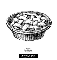 Hand drawn sketch homemade organic apple pie vector