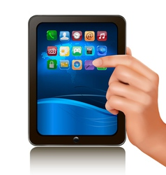 hand holding tablet computer vector image