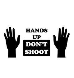 Hands up dont shoot with two palms pictograph vector